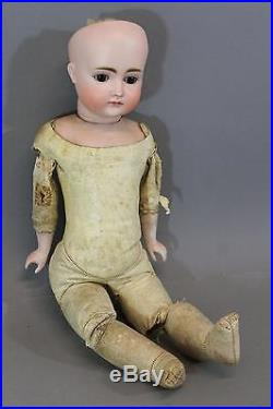 Antique 19thC German Kestner No. 9 French Bisque Head Doll, Kid Leather Body