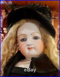 Antique 22 French Bisque Poupee Peau Fashion Doll With lovely Antique Costume