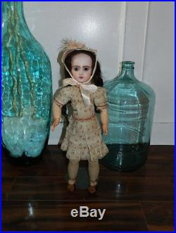 Antique 23 French Bisque Jumeau Doll Size 9 with Original Dress Pierced Ears