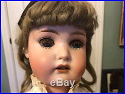 Antique 24 Doll, Bisque Head Fully Jointed body Open Mouth-Original Real Hair