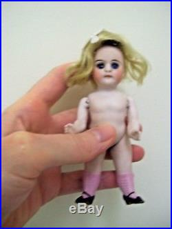 Antique 4 1/2 Kestner ALL BISQUE Pouty Dollhouse Doll RARE PINK SOCKS