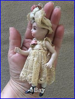 Antique 4.5 All Bisque Doll Swivel Head Glass Eyes Marked 13 jointed withstand