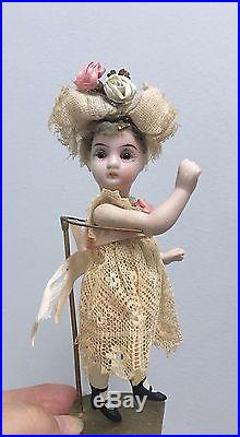 Antique 4.5 All Bisque Doll Swivel Neck jointed glass eyes