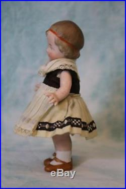 Antique 5 All Bisque Gebruder Heubach Coquette German Character Doll