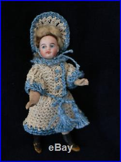 Antique 5 Bisque Mignonette Doll French Swivel Neck Compo Body Marked 12A