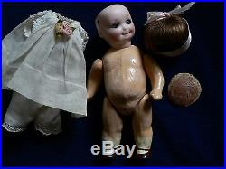 Antique 7 Bisque Googly Doll Glass Eyes G B AM 253 Nobbi Kid Compo