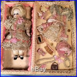 Antique 7 French All Bisque Jointed Doll Marked 3 Wardrobe in Presentation Box