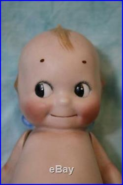 Antique 8 Inch Kewpie All Bisque Rose O'Neill doll Jointed arms Blue wings