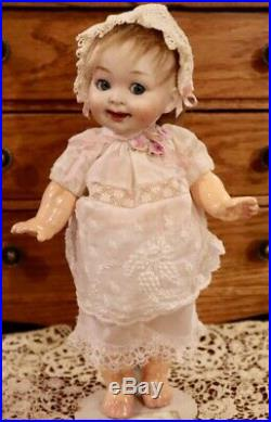 Antique 9 C1890 German Bisque AM 222 My Fairy Googlie Doll withNice Body &Outfit