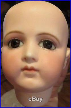 Antique 9 Circumference French Bisque Closed Mouth Portrait Jumeau Doll Head