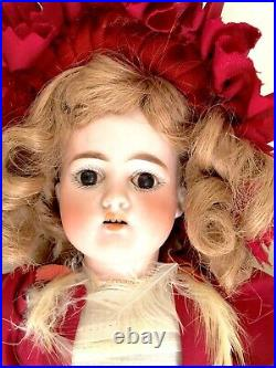 Antique AM Armand Marseille 1894 Jointed Bisque Doll Brown Glass Eyes 14-1/2