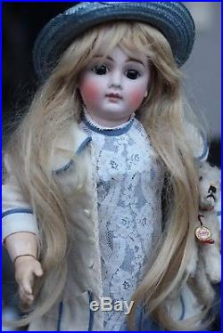 Antique Adorable Bisque Doll c1885 closed mouth w beautiful dress & dog