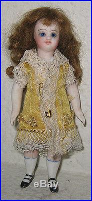Antique All Bisque French Mignonette Doll Swivel Neck