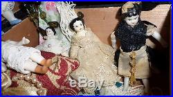Antique All Bisque German lot Dolls with trunk & accessories 12 antique dolls