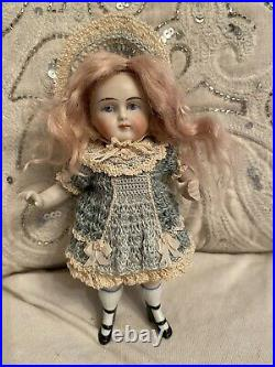 Antique All Bisque Large 6.25 Doll Chubby Wrestler Type Body Double Strap Shoes