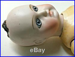 Antique Belton French Type Solid Bome Bisque Doll Clouth Mouth Glass Eyes 13