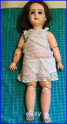 Antique Bisque Composition Socket Head Jointed Doll Glued Hair Painted Face