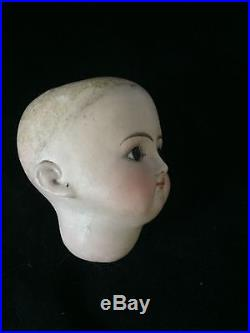 Antique Bisque Doll Head Marked 13 Brown Glass Eyes