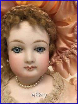 Antique Bisque French Fashion Doll! Leather Body And Stitched Hands! Wow