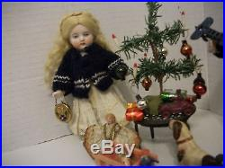 Antique Bisque German Brother & Sister Dollhouse Dolls With German Xmas Tree &Toys