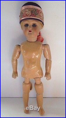 Antique Bisque Head Composition Doll Glass Eyes Flax Hair German Russian Vintage
