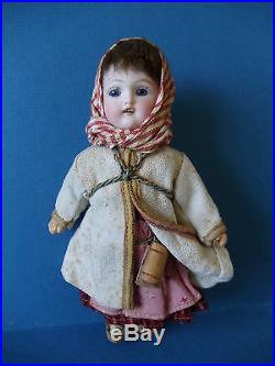 Antique Bisque Head Doll Ethnic Russian or Balkan Costume All Original Only 6 in