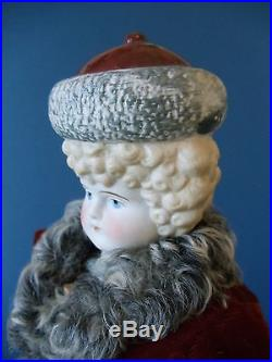 Antique Bisque RUSSIA Bonnet Head DOLL Hertwig 1898 International Series Skater
