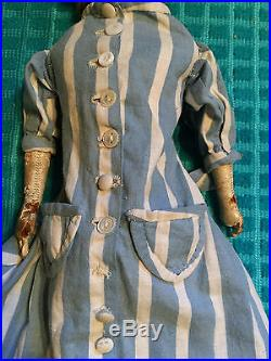 Antique Bisque Shoulder Head Doll Kid Body Glue Wig Painted Face Glass Eyes