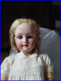 Antique Bisque head wood body German doll old
