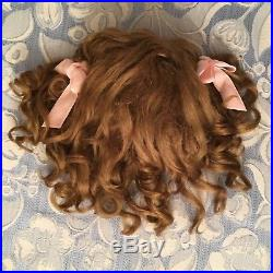 Antique Brown Mohair Doll Wig with Ribbons 4 French or German Bisque 10.5 -12 HC