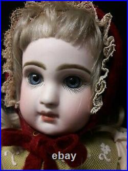 Antique Closed Mouth Jumeau Dressed in Christmas Outfit