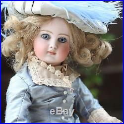 Antique Doll 1880 Closed Mouth Bisque Doll In Silk Dress