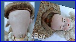 Antique Doll 1900's Mark A 43 Porcelain Bisque Head 15 Inches Open Mouth Hat