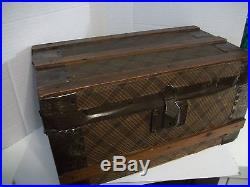 Antique Doll Trunk Dollhouse German Bisque Family With Antq Wooden Parlor Scene