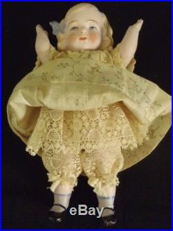 Antique Earlier Hertwig & Co. German All Bisque Molded Hair Doll 7.5 tall
