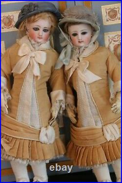 Antique FG French Fashion Dolls Pair Sisters 12 IN Original plus Replica Outfits