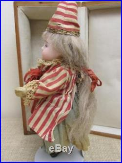Antique French 7 Bisque Mignonette Doll ORIG Outfit Wood Presentation Box