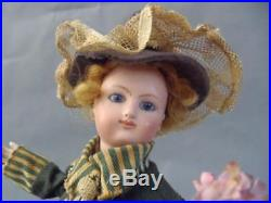 Antique French Automaton Music Box Flower girl Gorgeous French bisque doll