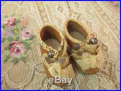 Antique French Bisque Doll Shoes Tan Leather Ribbon Trim Small Size