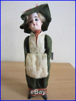 Antique French Bisque Mechanical wind up Walking woman doll with Muff 8.5