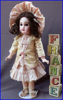 Antique French Doll, Bebe Jumeau Closed Mouth cabinet size