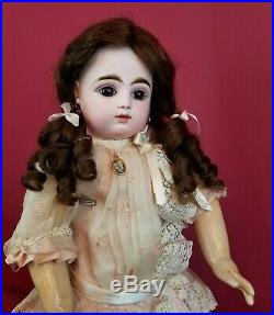 Antique French F. Gaultier Bebe FG Scroll Mark Brown Paperweight Eyes 17 Angel