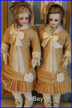 Antique French FG Fashion Poupee Twins 11 1/2 IN Ca. 1880's French Fashion Dolls