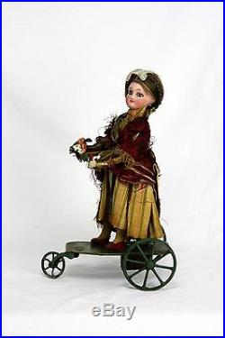 Antique French FG Mechanical Wind Up Automation Bisque Head Doll ca1900
