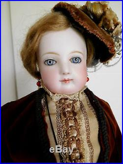 Antique French Fashion Jumeau Puppe Pressed Bisque 17 Lady
