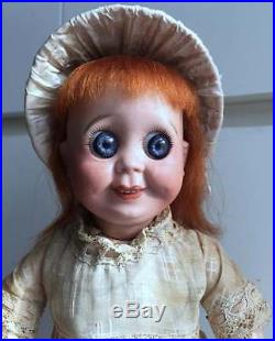Antique French SFBJ 245 rare Googly Googlie Bisque Doll Large Blue Glass Eyes