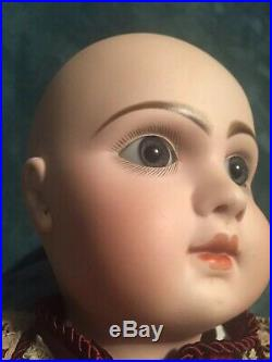 Antique French Tete Jumeau Bebe Bisque Doll CM& Paperweight Blue Inset Eyes, 27