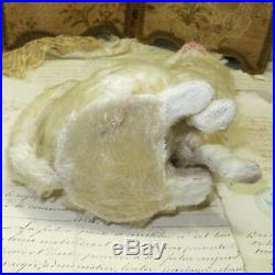 Antique French White Mohair Cat Candy Container Christmas Doll Steiff Bear Dress