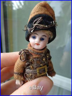 Antique French all bisque Mignonette soldier husar officer dollhouse doll