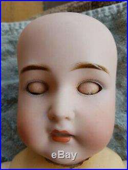Antique GERMAN BISQUE HEAD COMPOSITION Body Doll 23 Adolph Wislizenus EARRINGS